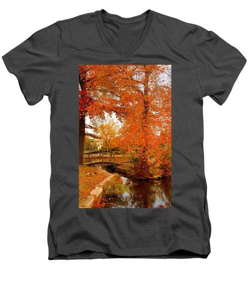 A Morning In Autumn - Lake Carasaljo Men's V-Neck T-Shirt
