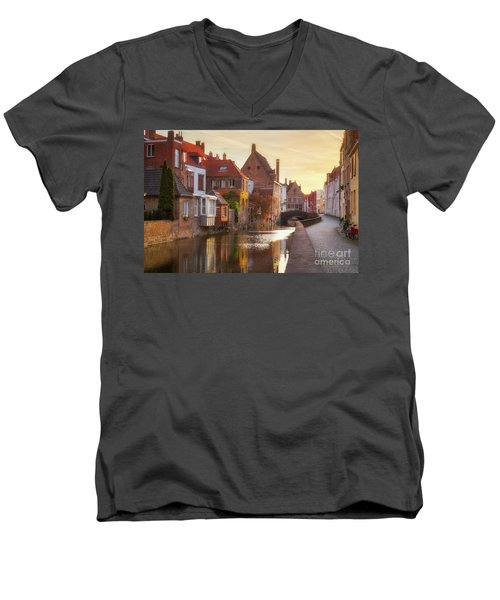 A Morning In Brugge Men's V-Neck T-Shirt by JR Photography