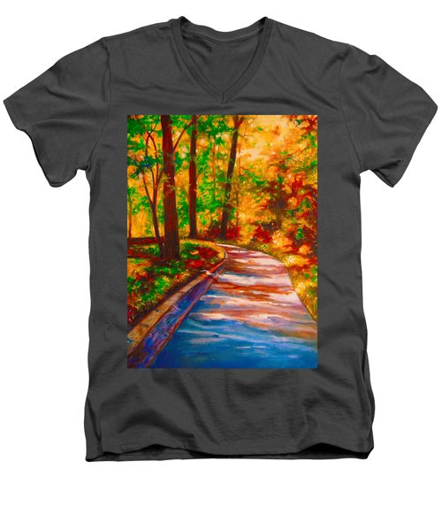 Men's V-Neck T-Shirt featuring the painting A Morning Walk by Emery Franklin