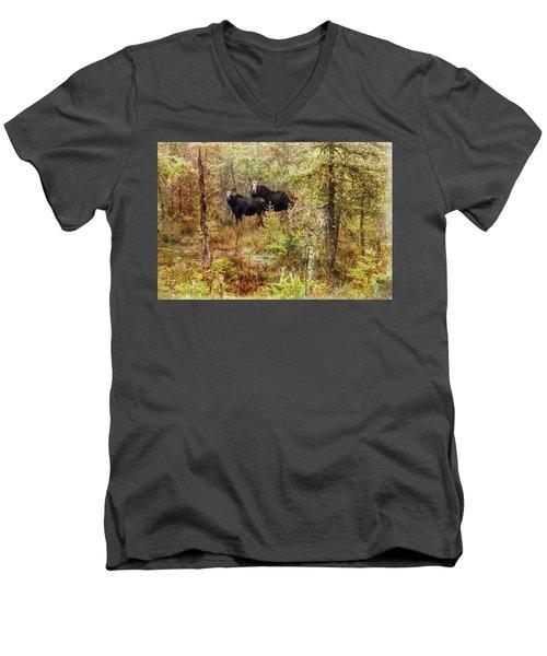 A Mother And Calf Moose. Men's V-Neck T-Shirt