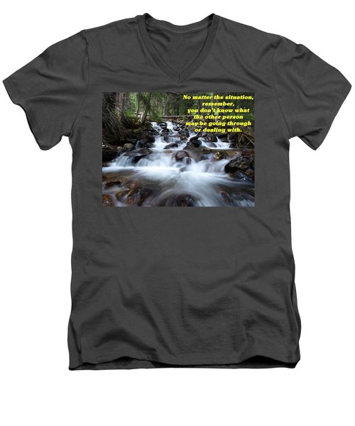 A Mountain Stream Situation 2 Men's V-Neck T-Shirt by DeeLon Merritt