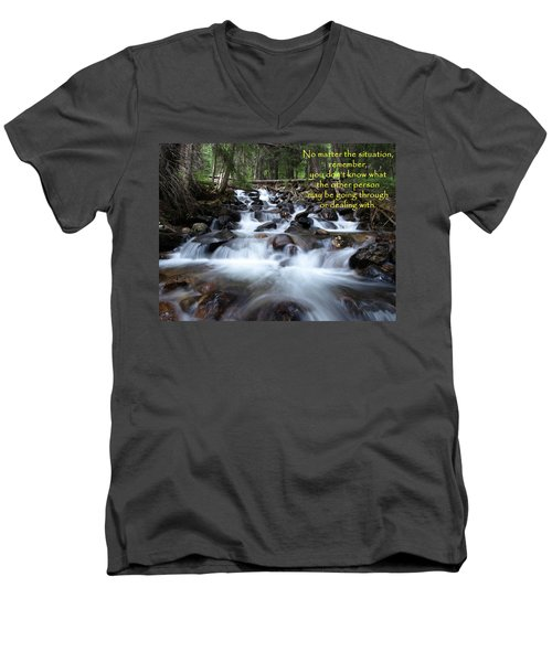 A Mountain Stream Situation Men's V-Neck T-Shirt by DeeLon Merritt