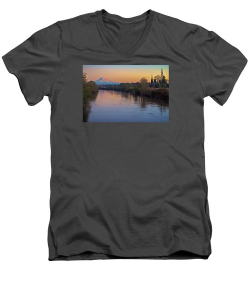 A Mt Tahoma Sunset Men's V-Neck T-Shirt by Ken Stanback