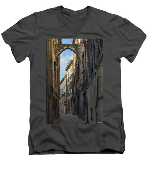 Men's V-Neck T-Shirt featuring the photograph A Narrow Street In Viviers by Allen Sheffield