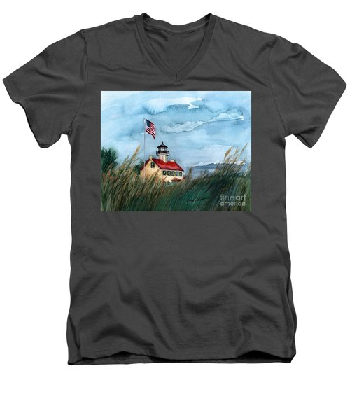 A New Day At East Point Lighthouse Men's V-Neck T-Shirt by Nancy Patterson