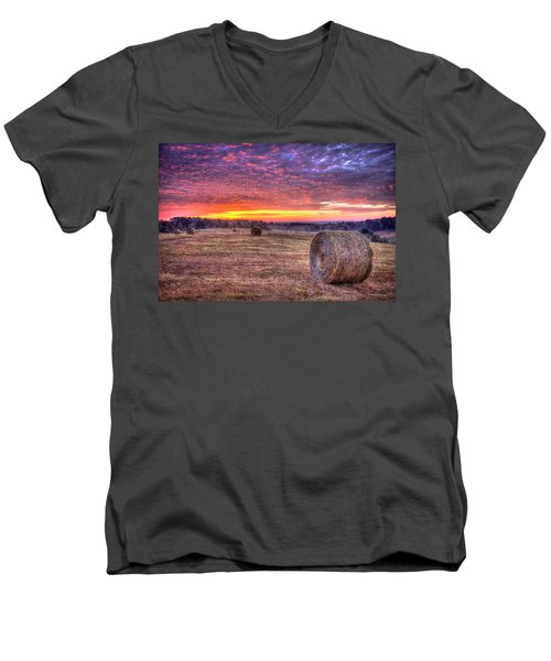 Men's V-Neck T-Shirt featuring the photograph Before A New Day Georgia Hayfield Sunrise Art by Reid Callaway