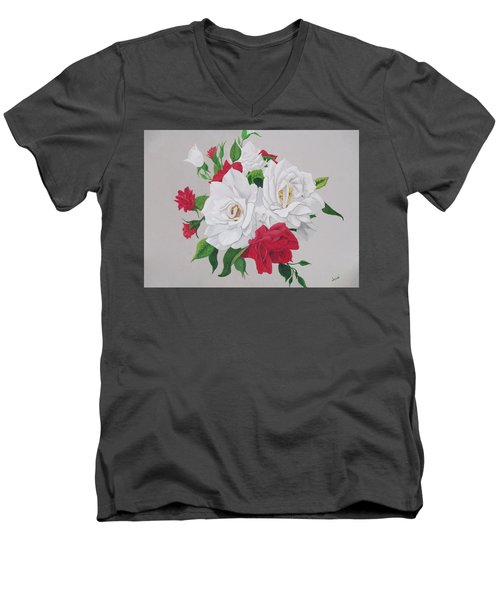 A New Rose Bouquet Men's V-Neck T-Shirt by Hilda and Jose Garrancho