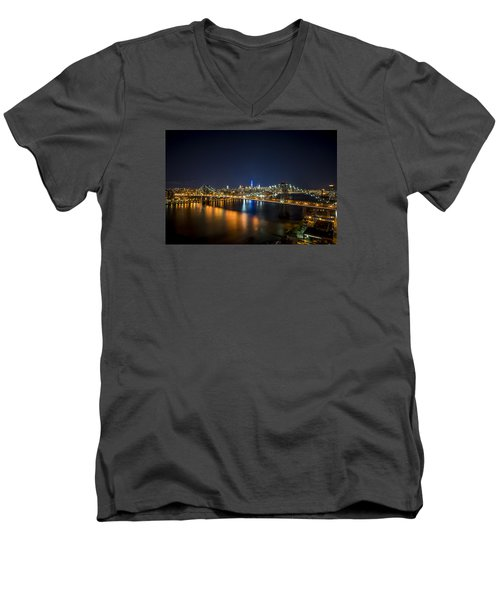 A New York City Night Men's V-Neck T-Shirt