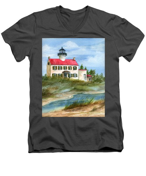 A Nice Day At The Point  Men's V-Neck T-Shirt by Nancy Patterson