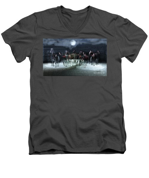 A Night Of Wild Horses Men's V-Neck T-Shirt