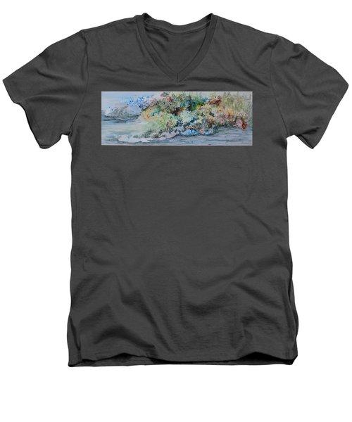 A Northern Shoreline Men's V-Neck T-Shirt by Joanne Smoley