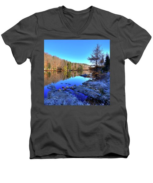 Men's V-Neck T-Shirt featuring the photograph A November Morning On The Pond by David Patterson