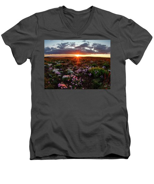 Men's V-Neck T-Shirt featuring the photograph A Nuttalls Linanthastrum Morning by Leland D Howard