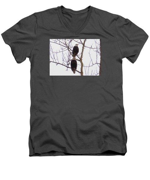 Men's V-Neck T-Shirt featuring the photograph A Pair Of Eagles by Karen Molenaar Terrell