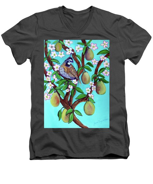 A Partridge In A  Blooming Pear Tree Men's V-Neck T-Shirt by Ecinja Art Works