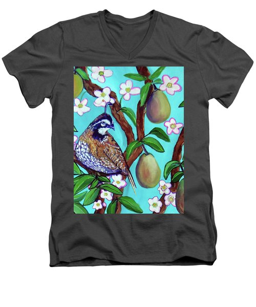 A Partridge In A  Blooming Pear Tree Men's V-Neck T-Shirt