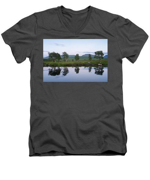 A Pastel Sky Over Loch Ba Men's V-Neck T-Shirt