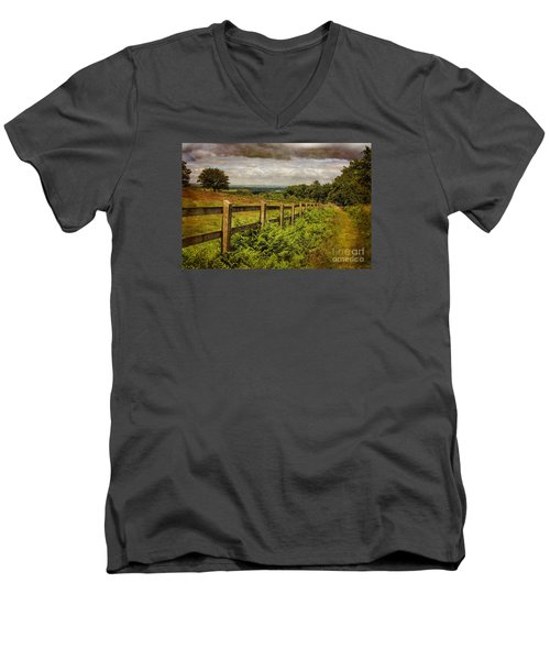A Path From  A Hill Men's V-Neck T-Shirt by Linsey Williams