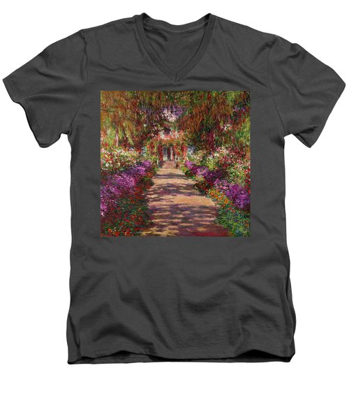 A Pathway In Monets Garden Giverny Men's V-Neck T-Shirt