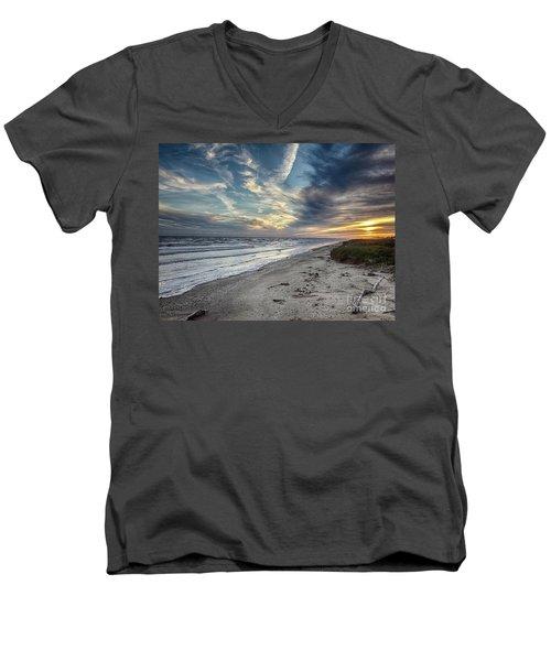 A Peaceful Beach Sunset Men's V-Neck T-Shirt