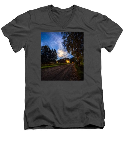 Men's V-Neck T-Shirt featuring the painting A Peaceful Evening by Rose-Maries Pictures