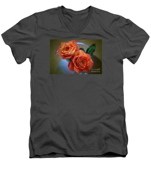 Men's V-Neck T-Shirt featuring the photograph A Peach Delight by Diana Mary Sharpton