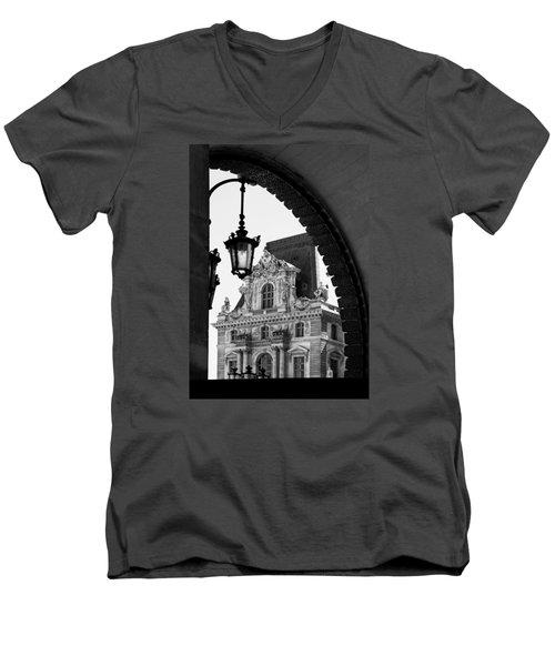 A Peak To The Louvre Men's V-Neck T-Shirt