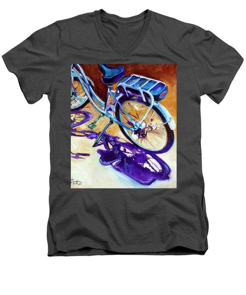 A Pedego Cruiser Bike Men's V-Neck T-Shirt by Marcia Baldwin