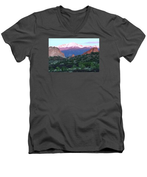 A Pikes Peak Sunrise Men's V-Neck T-Shirt by Eric Glaser