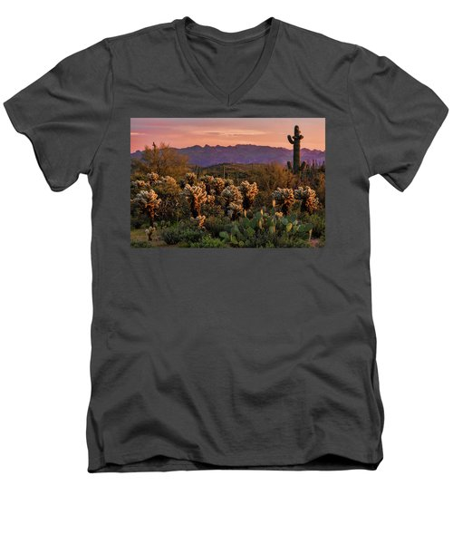 Men's V-Neck T-Shirt featuring the photograph A Pink Kissed Sunset  by Saija Lehtonen