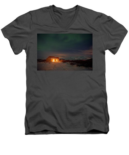 Men's V-Neck T-Shirt featuring the photograph A Place For The Night, South Of Iceland by Dubi Roman