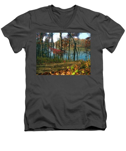 A Place To Think Men's V-Neck T-Shirt by Cedric Hampton