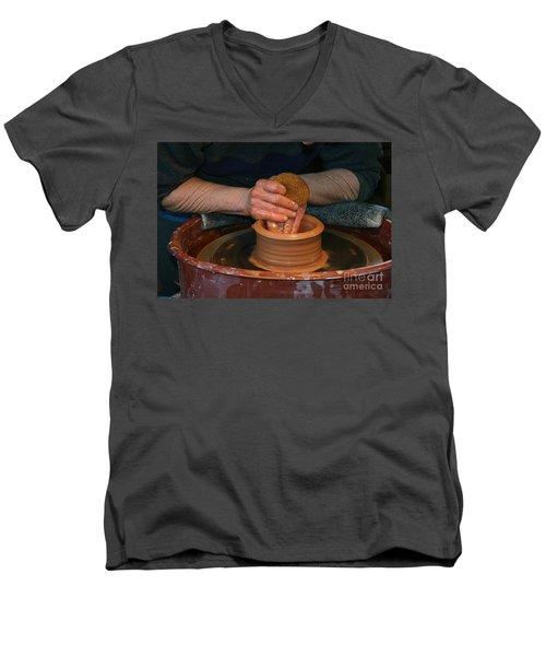 A Potter's Hands Men's V-Neck T-Shirt by Marie Neder