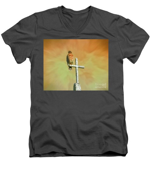 Men's V-Neck T-Shirt featuring the photograph A Powerful Perch by Myrna Bradshaw