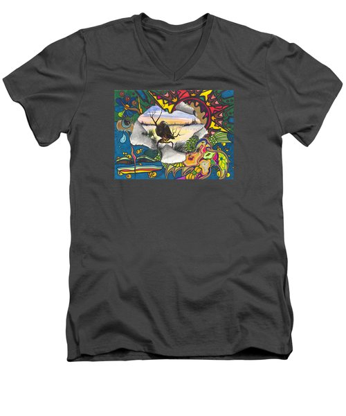 A Punch Through Men's V-Neck T-Shirt by Darren Cannell
