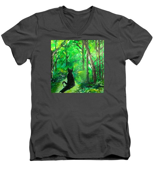 A Purrfect Day Men's V-Neck T-Shirt by Seth Weaver