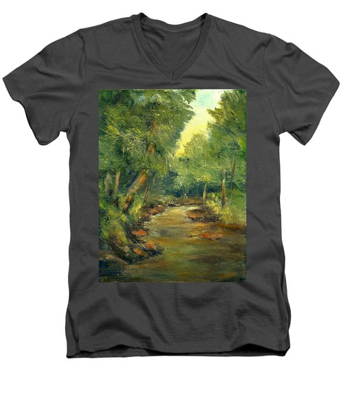 Men's V-Neck T-Shirt featuring the painting A Quiet Place by Gail Kirtz