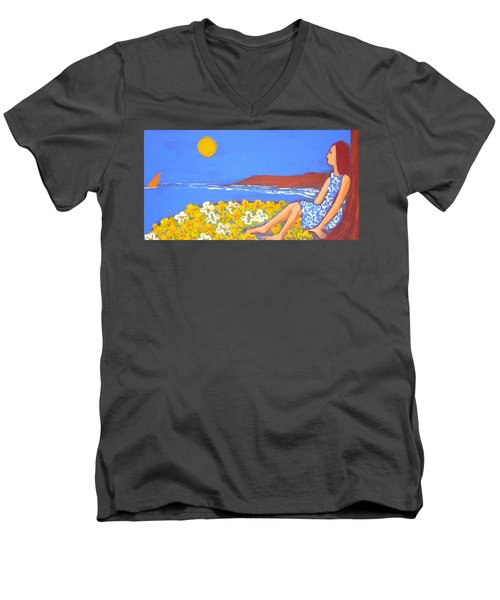 Men's V-Neck T-Shirt featuring the painting A Quiet Place by Winsome Gunning