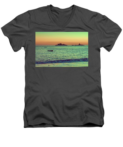 A Quiet Summer Evening On The Montenegrin Coast Of The Adriatic Sea Men's V-Neck T-Shirt