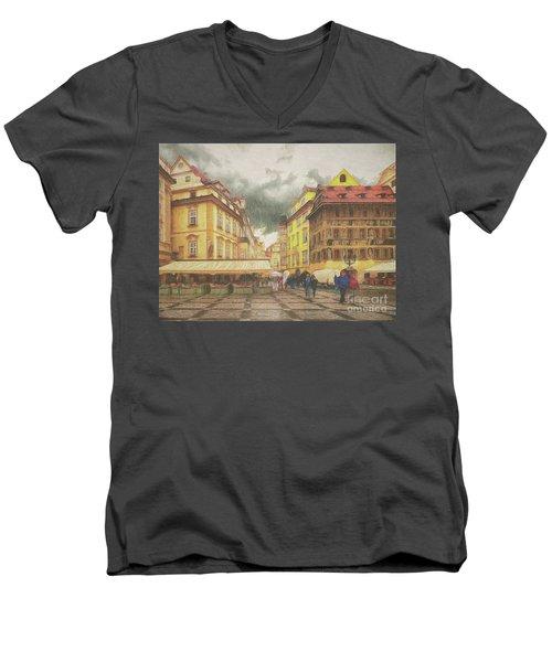 A Rainy Day In Prague Men's V-Neck T-Shirt