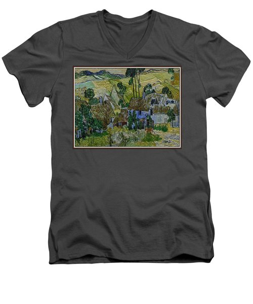 Men's V-Neck T-Shirt featuring the painting A Replica Of A Painting  Of Van Gogh by Pemaro