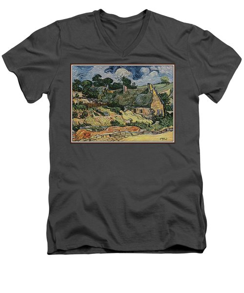 Men's V-Neck T-Shirt featuring the digital art a replica of the landscape of Van Gogh by Pemaro