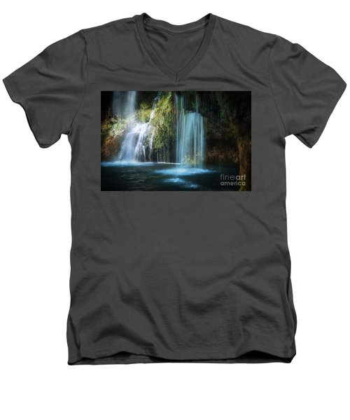 A Resting Place At Natural Falls Men's V-Neck T-Shirt by Tamyra Ayles