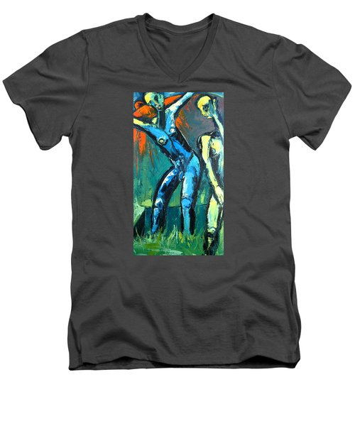 Men's V-Neck T-Shirt featuring the painting A Resurrection by Kenneth Agnello