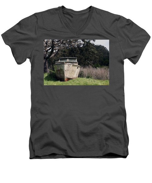 A Retired Old Fishing Boat On Dry Land In Bodega Bay Men's V-Neck T-Shirt