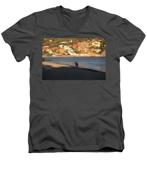 Men's V-Neck T-Shirt featuring the photograph A Ride On The Beach by Jim Walls PhotoArtist