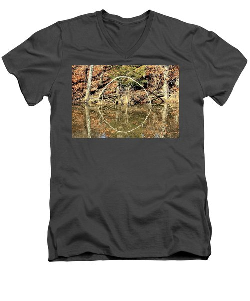 A Ring On The Pond In Fall Men's V-Neck T-Shirt