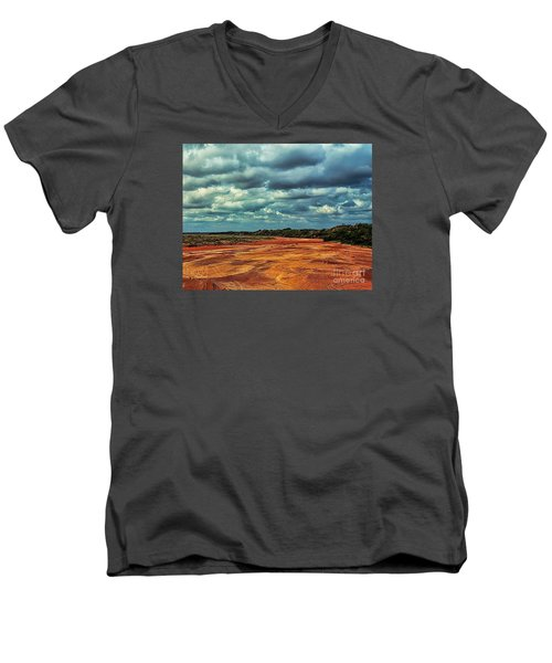 Men's V-Neck T-Shirt featuring the photograph A River Of Red Sand by Diana Mary Sharpton