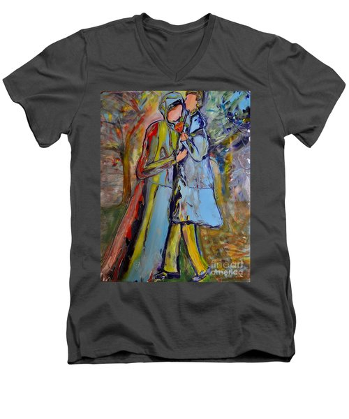 Men's V-Neck T-Shirt featuring the painting A Rose For My Lady by Deborah Nell