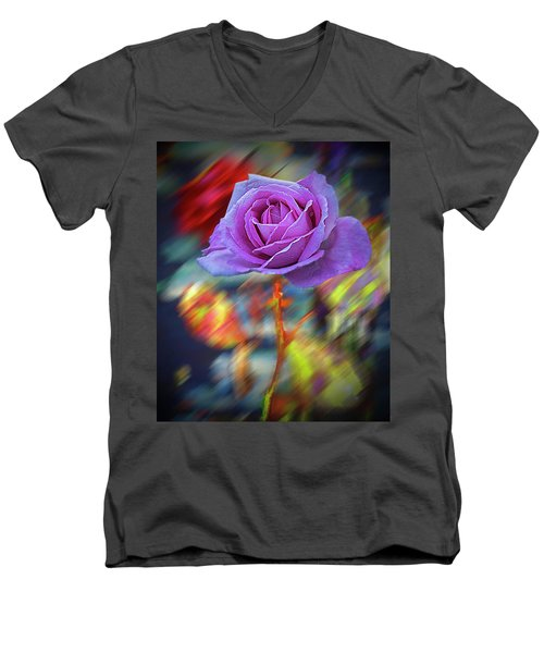 Men's V-Neck T-Shirt featuring the photograph A Rose by Vladimir Kholostykh